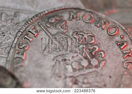 Macro photo of an ancient silver medieval coins