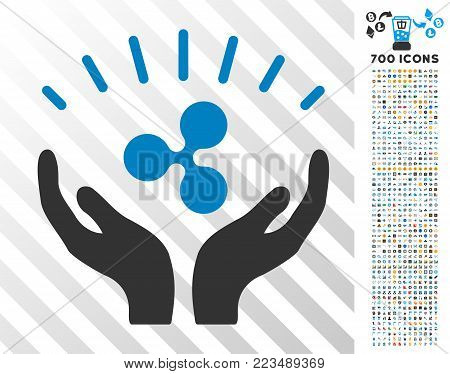 Ripple Prosperity Hands pictograph with 7 hundred bonus bitcoin mining and blockchain pictographs. Vector illustration style is flat iconic symbols designed for crypto currency websites.