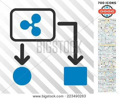 Ripple Cashflow icon with 700 bonus bitcoin mining and blockchain pictographs. Vector illustration style is flat iconic symbols designed for crypto-currency websites.
