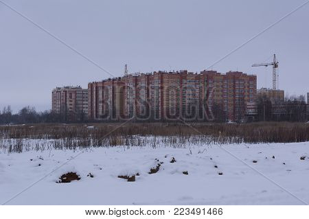 Yoshkar-Ola,  Russia - January 14, 2018 District of new buildings on the outskirts of a medium-height city in Yoshkar-Ola, Russia.