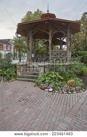 village community bandstand during summer months for performances