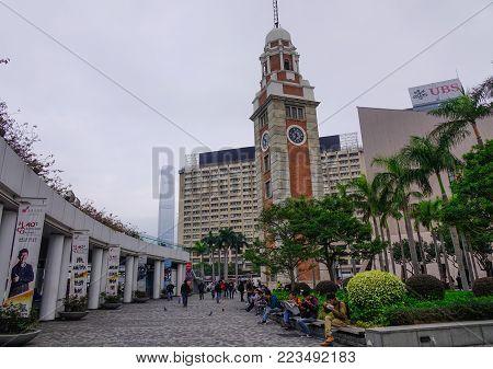 Hong Kong - Mar 29, 2017. Tsim Sha Tsui Clock Tower In Hong Kong. Built Out Of Red Bricks And Granit