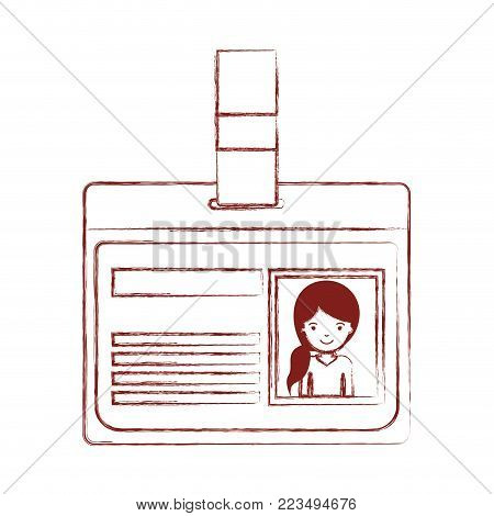 identification card with half body woman picture with pigtail hairstyle in dark red blurred silhouette vector illustration
