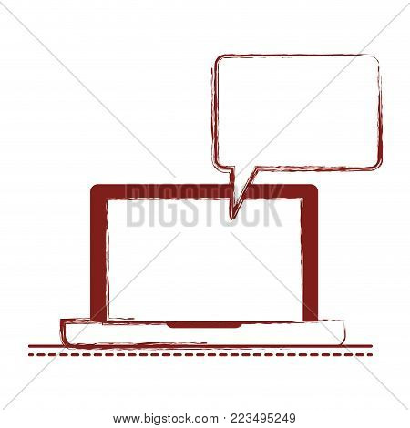 laptop computer with bubble dialogue in dark red blurred silhouette vector illustration