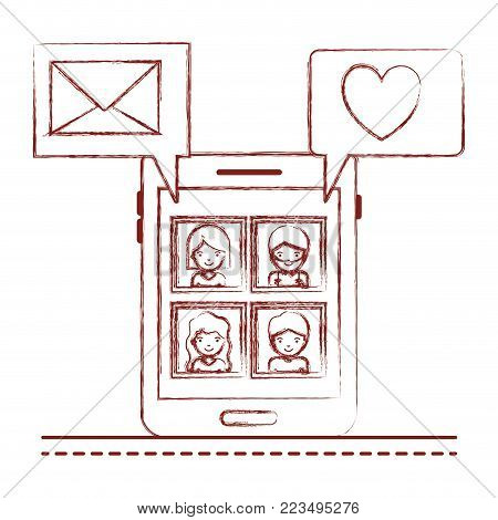 people picture profiles social network in smartphone screen with dialogues mail and heart in dark red blurred silhouette vector illustration