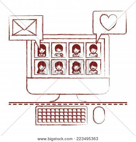 people picture profiles social network in desktop computer screen with dialogues mail and heart in dark red blurred silhouette vector illustration