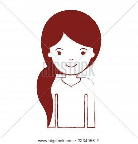 half body woman with pigtail hairstyle in dark red blurred silhouette vector illustration