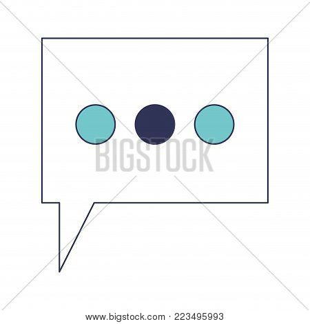 dialogue box with tail and three suspension points in blue color sections silhouette vector illustration