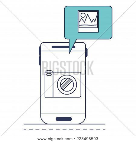 smartphone photo app and dialogue box in blue color sections silhouette vector illustration