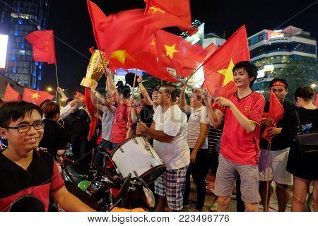 Football Fans Celebrate, Vietnamese Night Storm