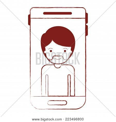 smartphone man profile picture with short hair and van dyke beard in dark red blurred silhouette vector illustration