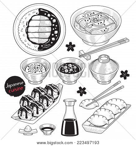 Japan Food Doodle Elements Hand Drawn Style. Vector Illustrations.