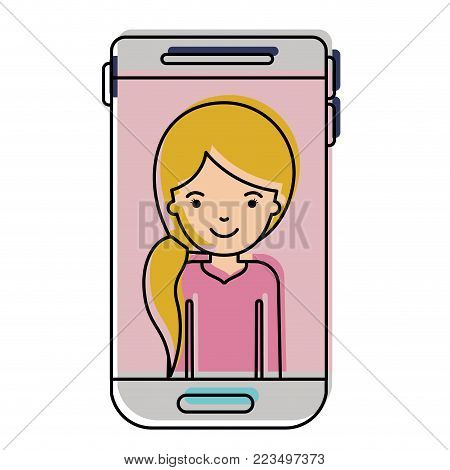 smartphone woman profile picture with pigtail hairstyle in watercolor silhouette vector illustration