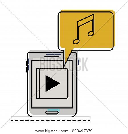 tablet device music app and dialogue box in watercolor silhouette vector illustration
