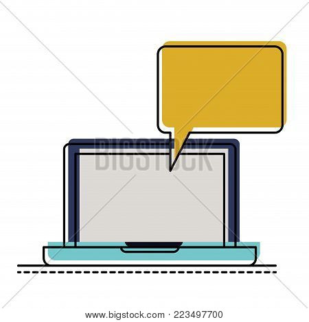 laptop computer with bubble dialogue in watercolor silhouette vector illustration