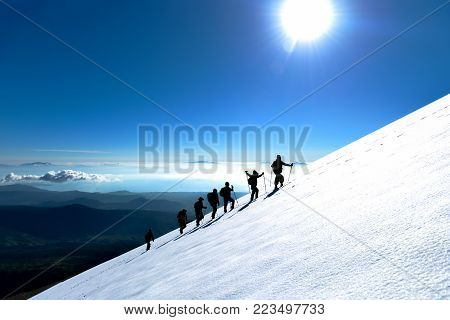 professional hiking activity & mountaineering & mountains and winter