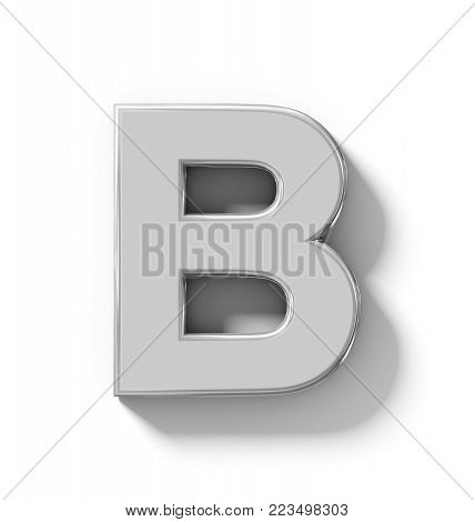 letter B 3D silver isolated on white with shadow - orthogonal projection - 3d rendering