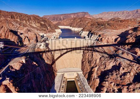Hoover Dam, USA, 2017.12.09.: The Hoover Dam seen from the Hoover Dam Bypass Bridge in the USA..