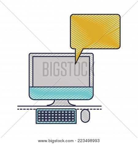 desktop computer with bubble dialogue in colored crayon silhouette vector illustration