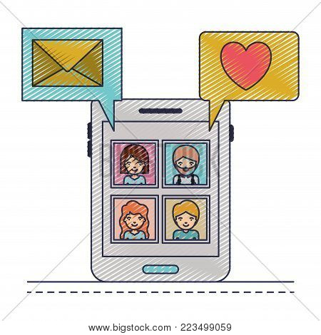 people picture profiles social network in smartphone screen with dialogues mail and heart in colored crayon silhouette vector illustration