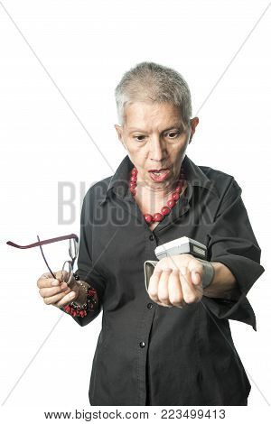 Shocked senior lady can't believe her blood pressure