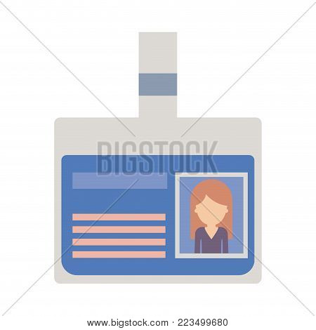 identification card with half body woman picture and faceless with long straight hair in colorful silhouette vector illustration