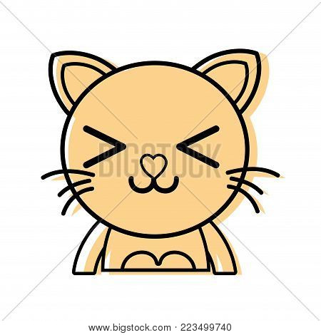color happy cat adorable feline animal vector illustration