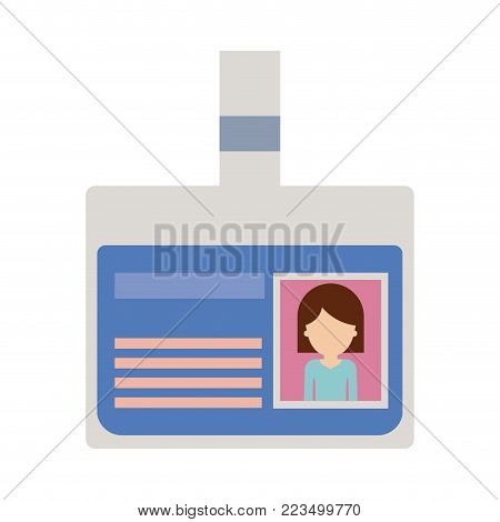 identification card with half body woman picture and faceless with hair middle length in colorful silhouette vector illustration