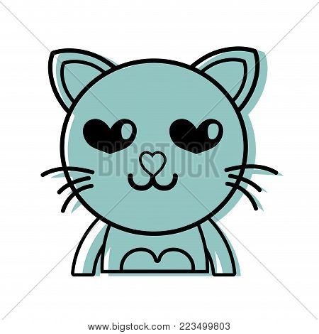 color enamored cat adorable feline animal vector illustration