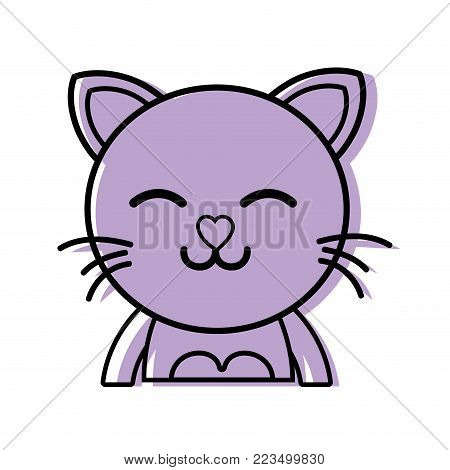 color sleeping cat adorable feline animal vector illustration