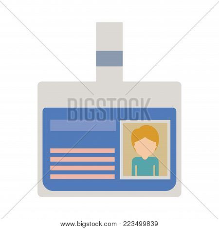 identification card with half body guy picture and faceless with short hair in colorful silhouette vector illustration
