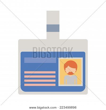 identification card with half body man picture and faceless with short hair and van dyke beard in colorful silhouette vector illustration