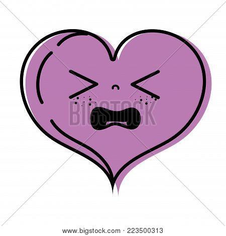 color gaudy heart love kawaii cartoon vector illustration