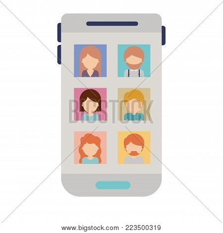 faceless people picture profiles social network in smartphone screen in colorful silhouette vector illustration
