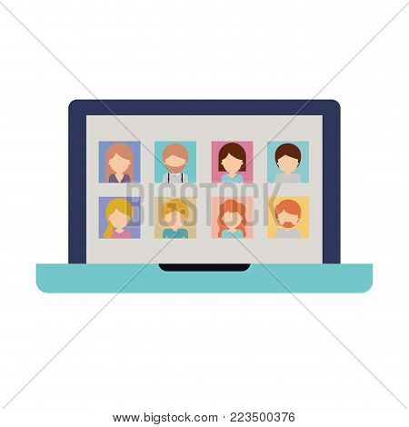 faceless people picture profiles social network in laptop screen in colorful silhouette vector illustration
