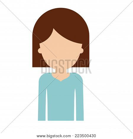 half body faceless woman with hair middle length in colorful silhouette vector illustration