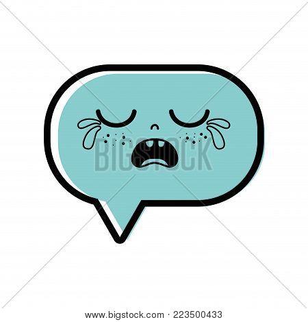 color gaudy chat bubble kawaii cartoon vector illustration