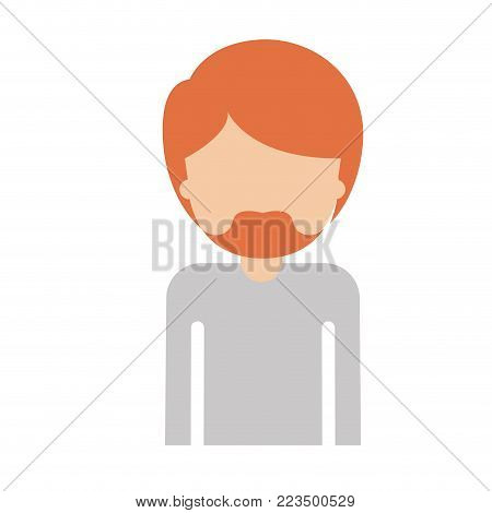 half body faceless man with short hair and van dyke beard in colorful silhouette vector illustration