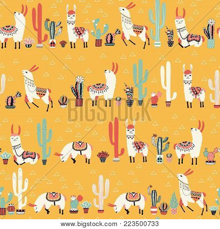 Happy llama in cactus jungles with lovely flowers and cacti on pink background. Vector illustration. Good for posters, stickers, cards, notebooks and other childish accessories.