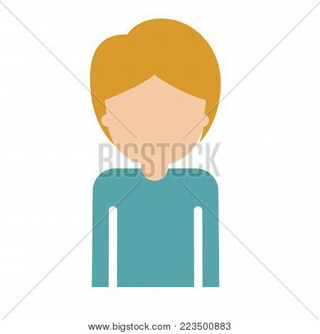 half body faceless guy with short hair in colorful silhouette vector illustration