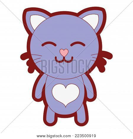 line color sleeping cat cute feline animal vector illustration