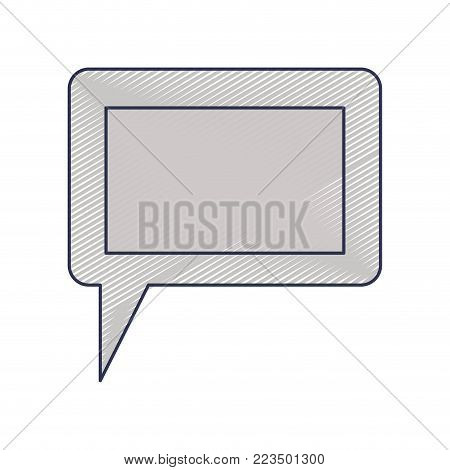 dialogue box icon with tail and frame in colored crayon silhouette vector illustration