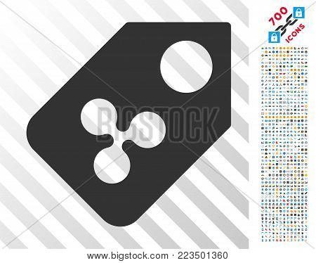 Ripple Price Tag pictograph with 7 hundred bonus bitcoin mining and blockchain icons. Vector illustration style is flat iconic symbols designed for crypto-currency software.