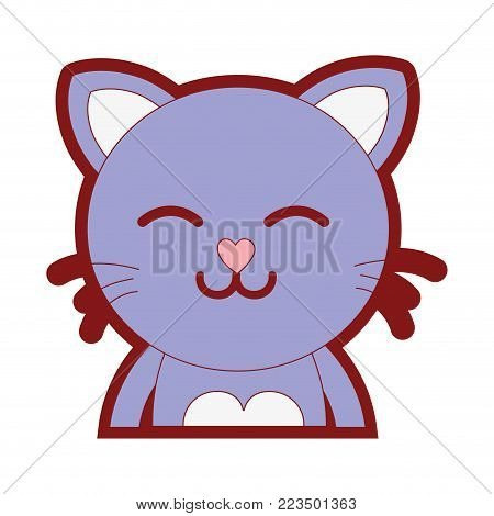line color sleeping cat adorable feline animal vector illustration