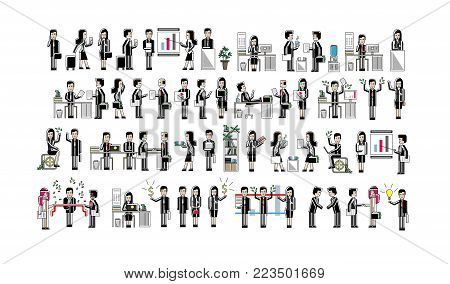 Asian business people isolated big set. Corporate partnership and teamwork, office life, professional business community. Group of people in strict suit vector illustration in trendy linear style.
