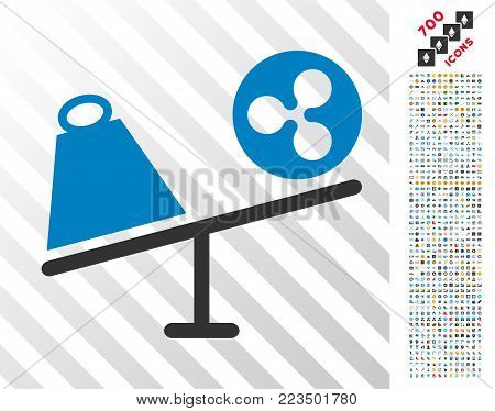 Ripple Trade Swing pictograph with 7 hundred bonus bitcoin mining and blockchain images. Vector illustration style is flat iconic symbols designed for blockchain websites.