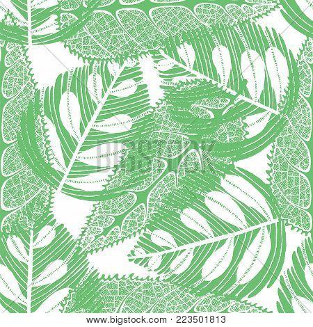 Imprint leaves - seamless pattern. Green leaves on white background. Vector illustration.