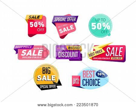 Supermarket sale stickers isolated on white background. Special offer, best choice, discount, big sale labels. Retail advertising campaign, holiday shopping, exclusive proposition vector illustration.