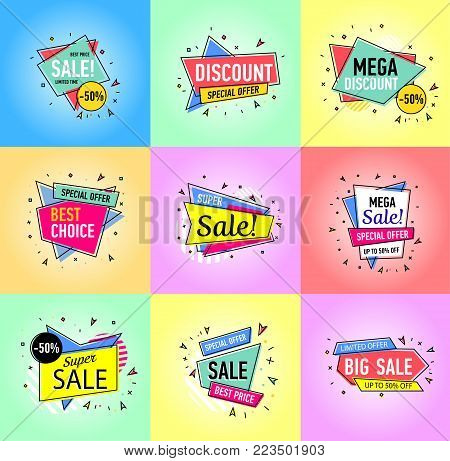 Limited offer, best price, mega discount and super sale stickers in trendy linear style. Retail marketing, new advertising campaign, holiday shopping, exclusive proposition vector illustration.