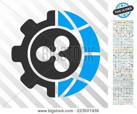 Ripple World Industry pictograph with 7 hundred bonus bitcoin mining and blockchain pictographs. Vector illustration style is flat iconic symbols designed for blockchain websites.